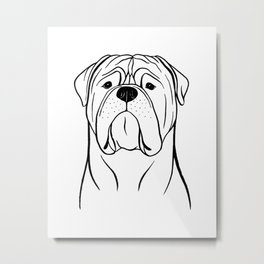 Bullmastiff (Black and White) Metal Print