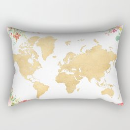Bohemian world map with watercolor flowers Rectangular Pillow