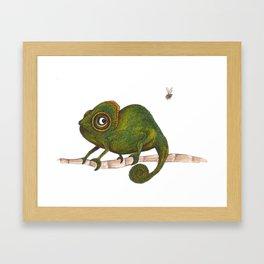 Chameleon vs fly Framed Art Print