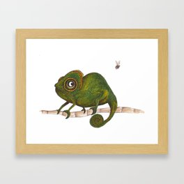 Chameleon vs fly Framed Art Print