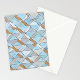 Shifting Pattern Turquoise and Gold Stationery Cards