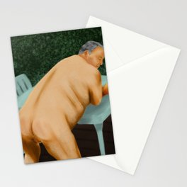 The mature Bear likes to sunbathe and offer his Butt to his young Lover. Stationery Cards