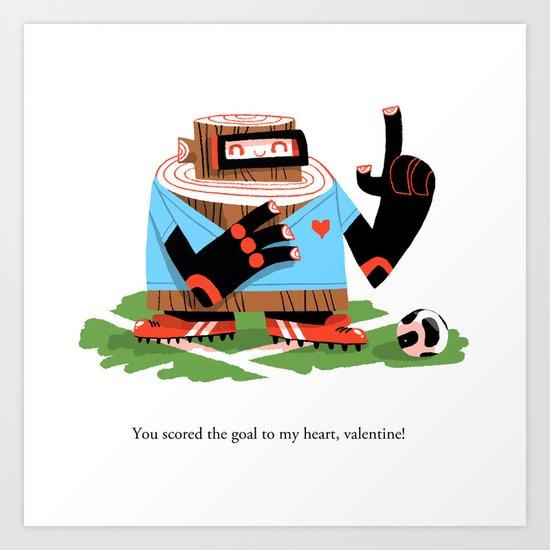 Wooden Robot Valentine Art Print
