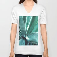 cactus V-neck T-shirts featuring Cactus by Alexandra Str