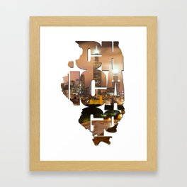 Chicago Illinois Typography - Chicago Skyline From The Rooftop Framed Art Print
