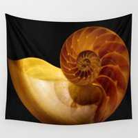 shell Wall Tapestries featuring shell by littlesilversparks
