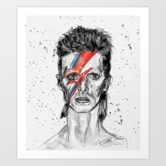 Bowie Inspired David in BW Art Print
