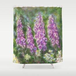 Foxgloves in the Spring Garden by Marianne Fadden Shower Curtain