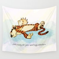 calvin Wall Tapestries featuring Calvin Rests for Big Adventure by WimpyGeek Art