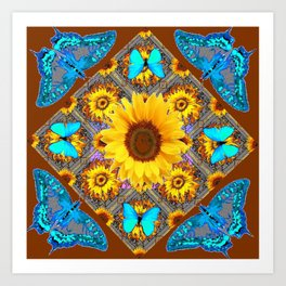 WESTERN SUNFLOWER BUTTERFLIES COFFEE BROWN Art Print