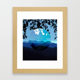Mountains and Leaves in Blue and Black Framed Art Print