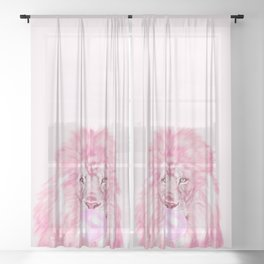 Lion Chewing Bubble Gum in Pink Sheer Curtain