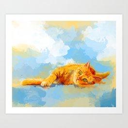 Cat Dream - orange tabby cat painting Art Print