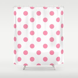 Polka Dots - Flamingo Pink on White Shower Curtain