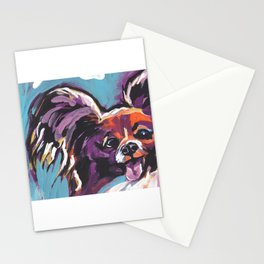 Fun Papillon portrait Dog bright colorful Pop Art Stationery Cards