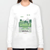 seoul Long Sleeve T-shirts featuring City Illustrations (Seoul, South Korea) by Nuthon Design