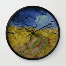 Wheatfield with Crows Wall Clock