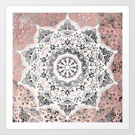Dreamer Mandala White On Rose Gold Art Print