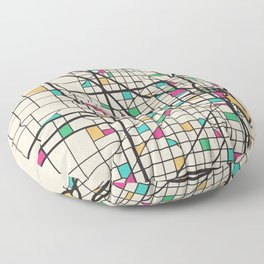 Colorful City Maps: Milwaukee, Wisconsin Floor Pillow
