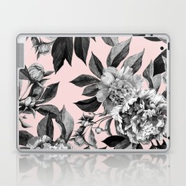 Floral pink - black & white Laptop & iPad Skin