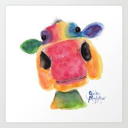 Nosey Cow ' BRIDGET ' by Shirley MacArthr Art Print