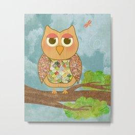 Woodland Owl in a Tree Metal Print