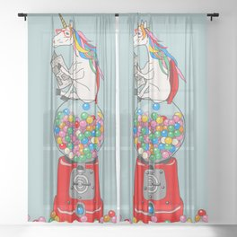 Unicorn Gumball Poop Sheer Curtain