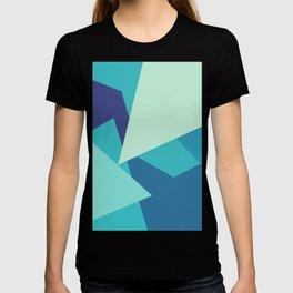 Retro Blue Mid-century Minimalist Geometric Line Abstract Art T-shirt
