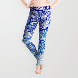Modern china blue ombre watercolor floral lace hand drawn illustration Leggings