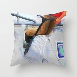 Downhill Run - Stunt Scooter Rider Throw Pillow