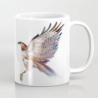 hawk Mugs featuring hawk by Jenny Highsmith