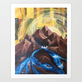 That Painting with the Golden Sunset Over a River Art Print
