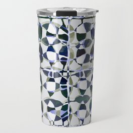 abstract tile in shade of blues Travel Mug