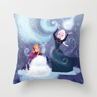 snowman Throw Pillows featuring Snowman by samanthadoodles