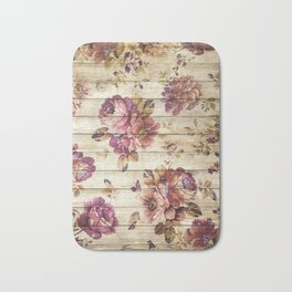 Rustic Vintage Country Floral Wood Romantic Bath Mat