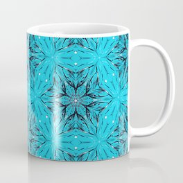 Black Snowflakes stars ornament on Blue Coffee Mug