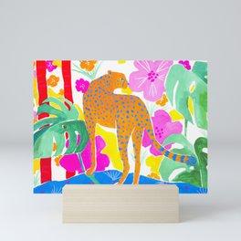 Jaguar in Tropical Garden Mini Art Print