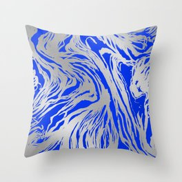 Marbled Blue Throw Pillow