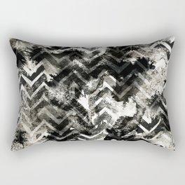 Black & White Chevron Ink Spill Rectangular Pillow