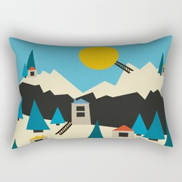 A Sunny Winter Day in the Mountain Village Rectangular Pillow