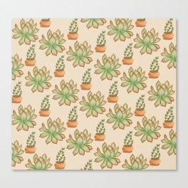 Wax Agave & Jade Plant Canvas Print
