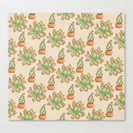 Wax Agave & Jade Plant Canvas Print