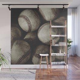 Grungy Baseballs on a Shelf Wall Mural