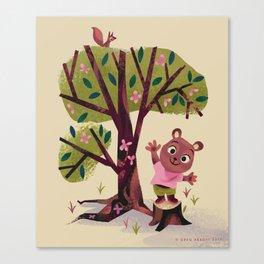 Bear on a tree stump waving hello Canvas Print