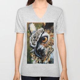 Great Horned Owl. wildlife. nature. bird. owl. Unisex V-Neck