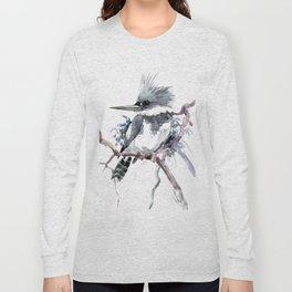 Belted Kingfisher, Gray design, Gray shades, Bird art Long Sleeve T-shirt