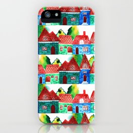Watercolor houses iPhone Case
