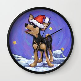 Chihuahua Christmas Wall Clock