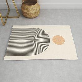 Abstraction_SUN_LINE_BLACK_CIRCLE_POP_ART_Minimalism_009B Rug