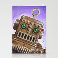 steam punk Stationery Cards featuring i.Friend: Steam Punk Robot by CHRIS MASON